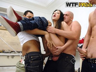 Girl suffers from asssex in dirty group orgy
