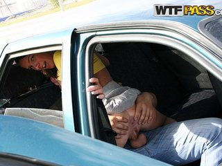 Horny chick gives head and fucks in the car