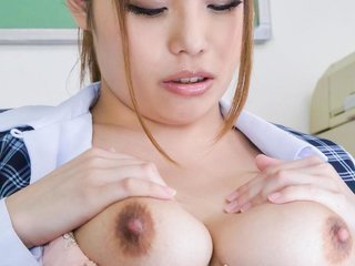 Rion Nishikawa busty rubs her clit and sucks two..