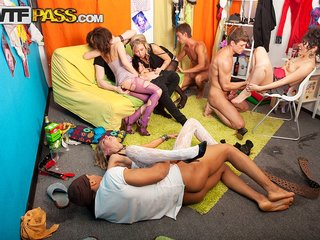 Nasty college group sex scene with a bunch of..